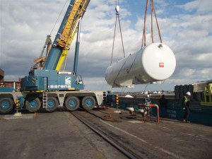2008 / Import from Derince Turkey to Fos sur mer and up to job site by river barge and truck. Tanks 39m90 x 4m70 x 4m90   106 tons